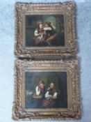 A pair of 19th century carved gilt wood framed Continental School oils on panel of a young couple in