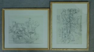 Basil Nubel (British, 1923-1981) Two framed and glazed pencil sketches, still life, signed. 63x56cm