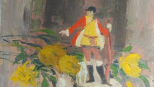 An oil on canvas, surreal study, man and flowers, gallery label verso. indistinctly signed. 62x51cm