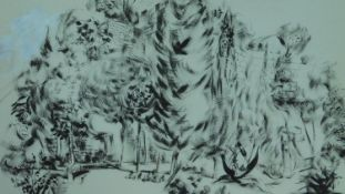 Basil Nubel (British, 1923-1981) Framed and glazed ink on paper, forest scene, signed. 79x63cm