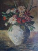 A large framed and glazed 20th century oil on canvas still life of flowers in a vase. Signed ?E.