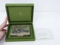 A green silk cased Buccellati silver cigarette box engraved with 'Santa Maria della Salute' in de