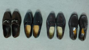 Four pair of designer mens shoes including a pair of brown Suede Gucci loafers (size 43 1/2) with