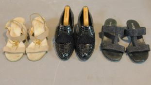 A miscellaneous collection of three pairs of Russell and Bromley lady's shoes, sizes 36 and 37.
