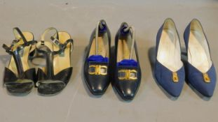 A miscellaneous collection of three pairs of lady's shoes to include Salvatore Ferragamo, Bruno