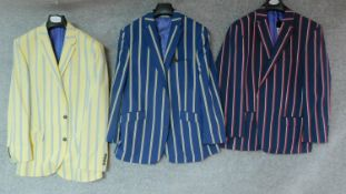 "Three striped blazers by Samuel Windsor. 44"" chest, all new and unworn."