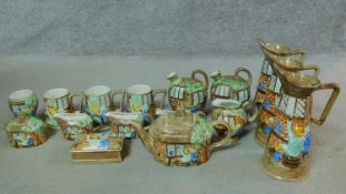 A collection of sixteen pieces of vintage H.J. Wood hand painted Radford Pottery Cottage ware.