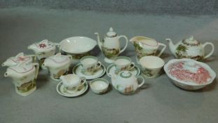 A collection of Meakin transferware pottery. lncluding Stokesay Castle design tea service, lidded