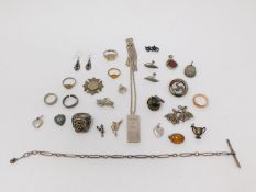 Collection of vintage and antique silver jewellery. Including silver charms, a silver and Agate Isle
