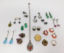 A collection of vintage and antique jewellery including a pair of Czech Moon Glow emrald glass