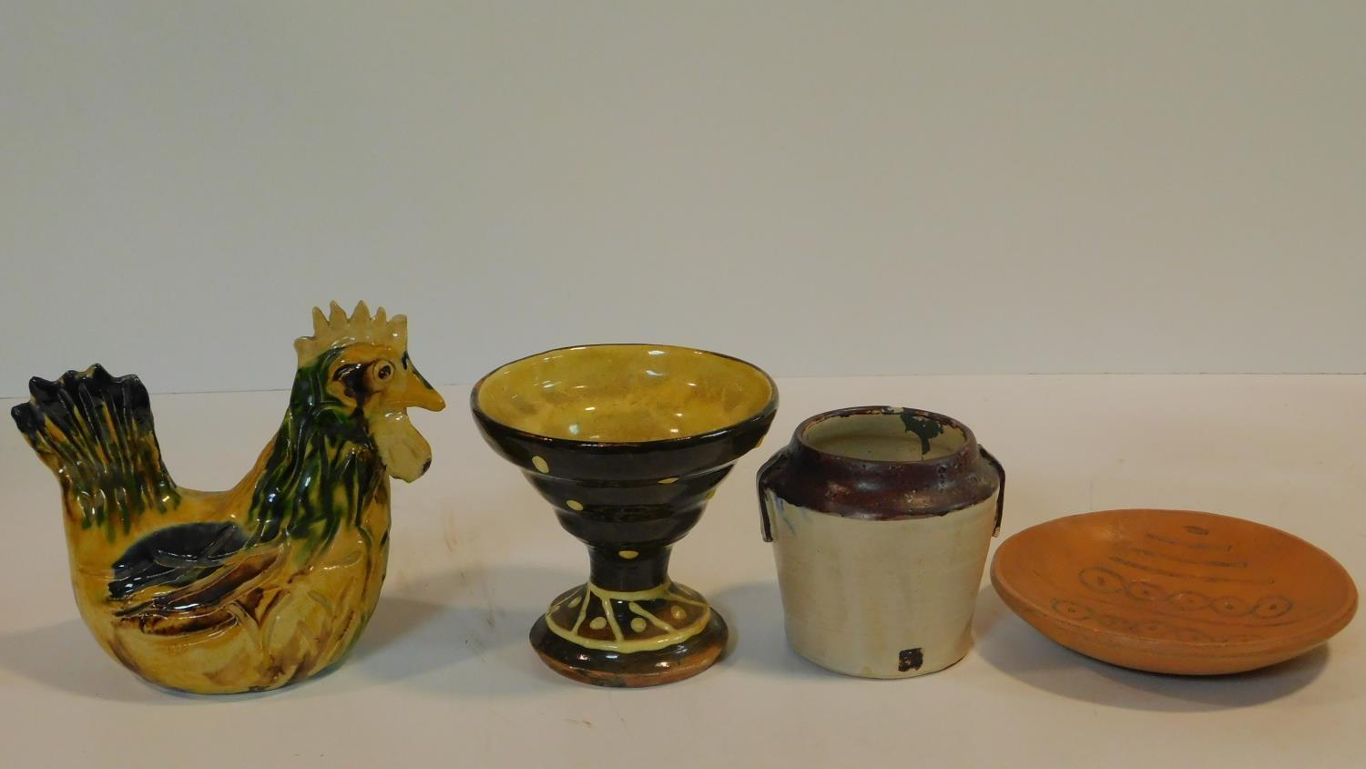 A miscellaneous collection of studio pottery, various jars, a bowl, ceramic chicken and a - Image 4 of 6