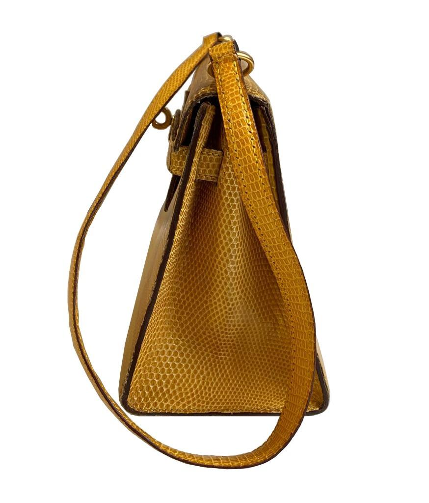A yellow Hermes Kelly in Lizard with gold hardware, including strap. W.20cm x H.14cm x D.9cm, - Image 2 of 11