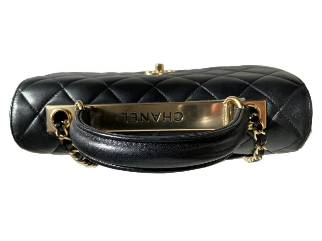 A Chanel Trendy CC in Black quilted leather with Gold Hardware, can be carried either in the hand - Image 6 of 9