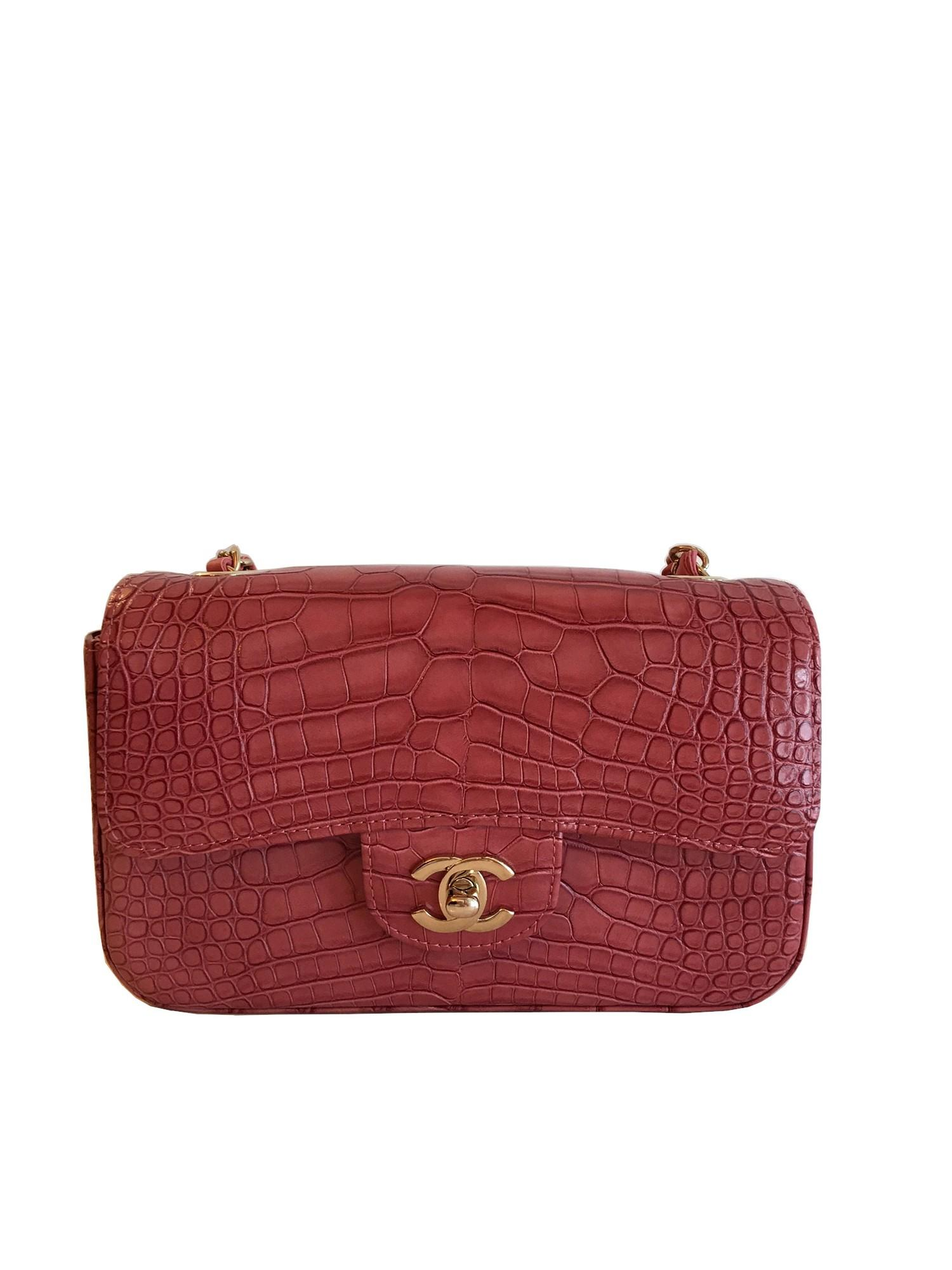 A Chanel Classic Flap in Dusky Pink Crocodile leather with Gold Hardware is instantly recognizable - Image 2 of 5