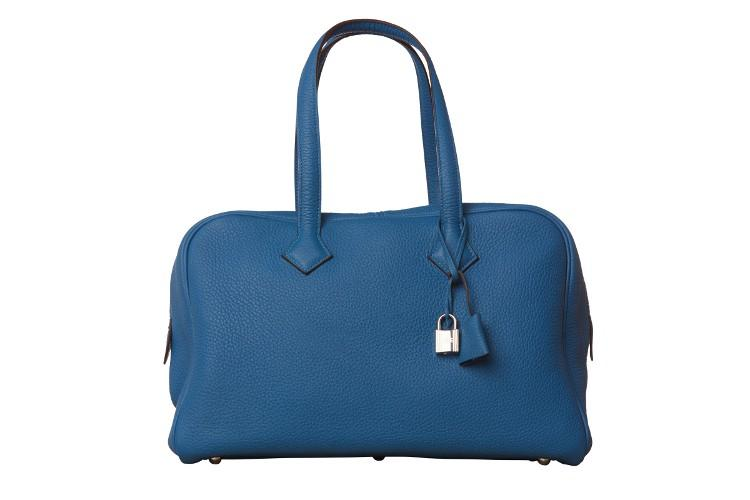 A Hermes Bleu de Galice Victoria II in clemence leather with palladium hardware, includes Dustbag. - Image 4 of 12