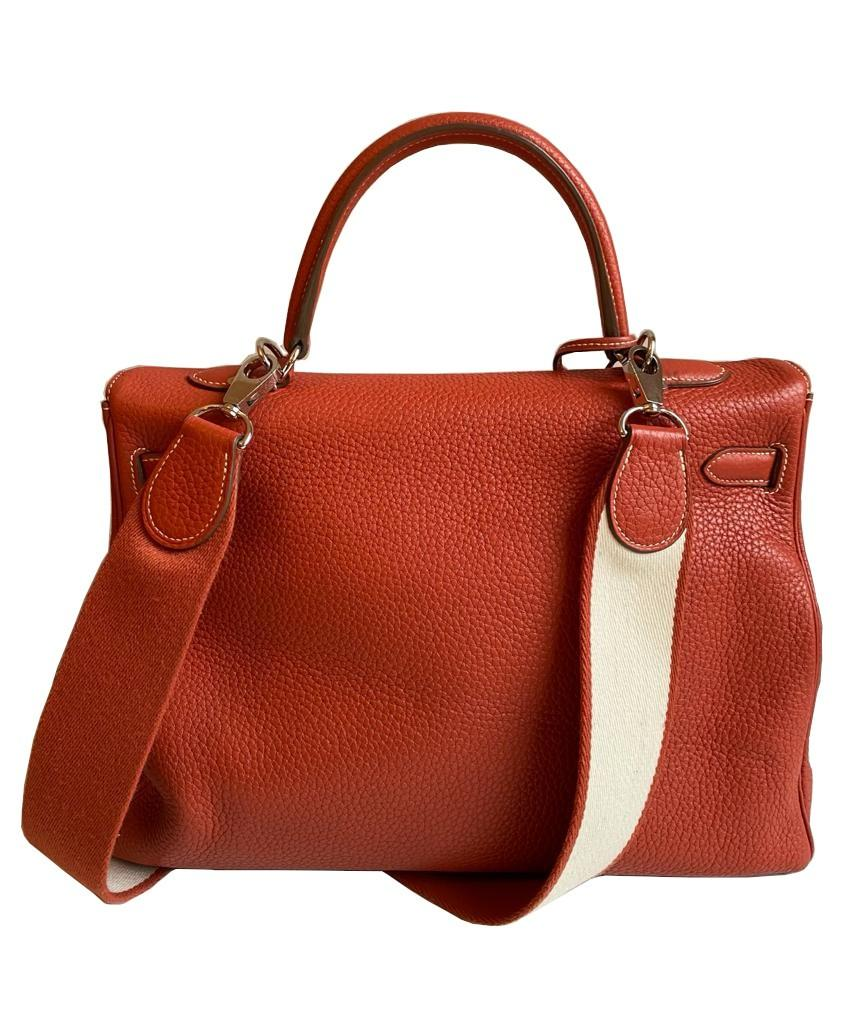 A sanguine Hermes Kelly in clemence leather with palladium hardware, includes Dustbag, Raincover, - Image 4 of 11