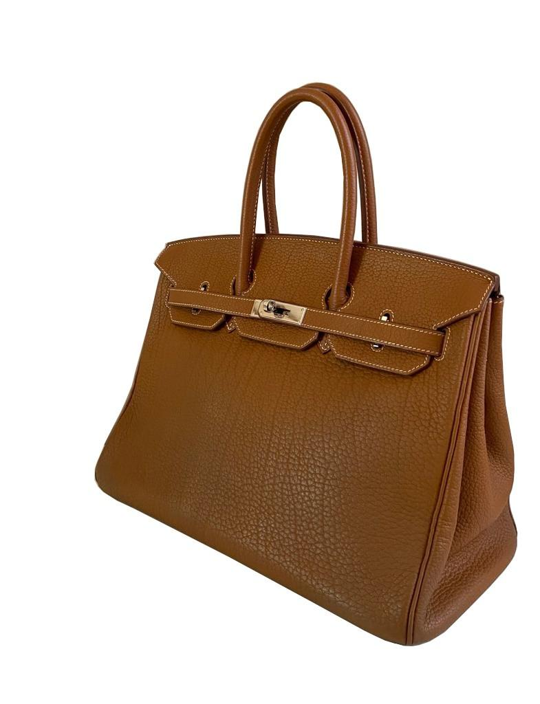 A gold Hermes Birkin in fjord leather with palladium hardware, with key, lock and spa receipt, W. - Image 4 of 9