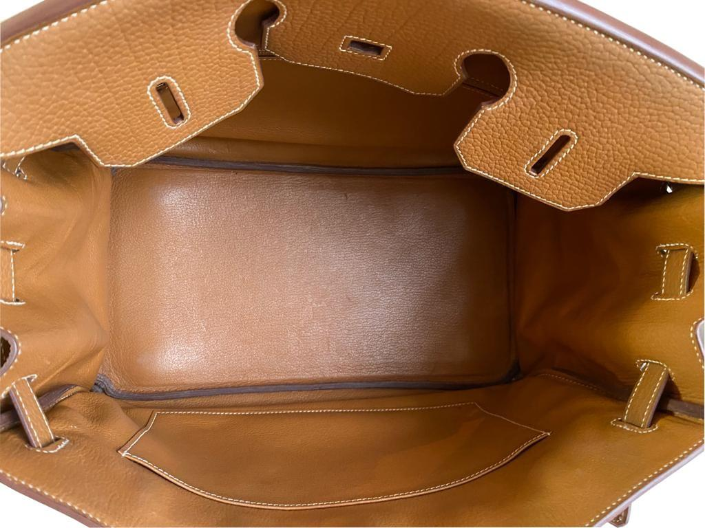 A gold Hermes Birkin in fjord leather with palladium hardware, with key, lock and spa receipt, W. - Image 7 of 9