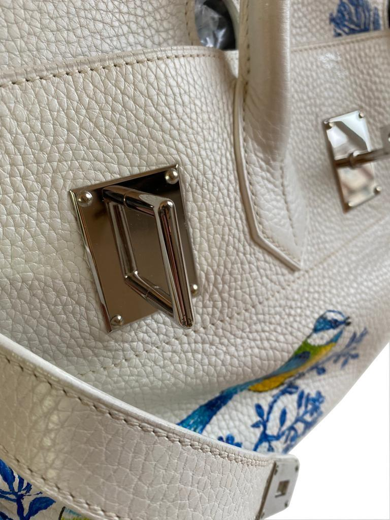 A white Jean Paul Gaultier (JPG) Hermes Birkin in clemence with palladium hardware, including - Image 9 of 15