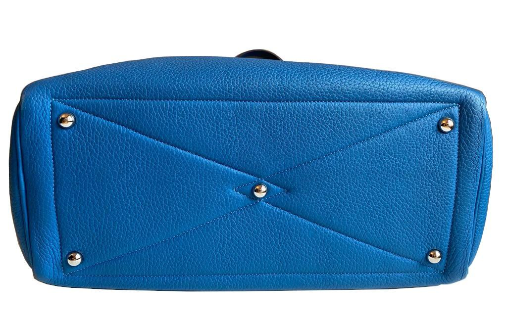 A Hermes Bleu de Galice Victoria II in clemence leather with palladium hardware, includes Dustbag. - Image 5 of 12