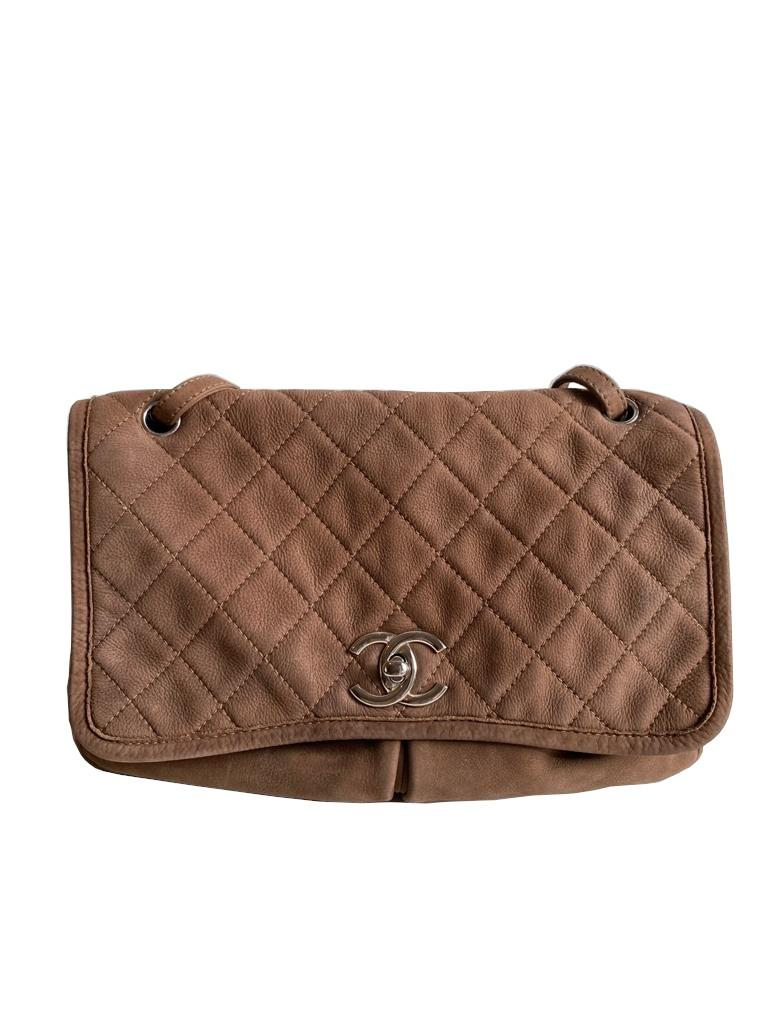 A Chanel Maxi Flap Bag in Nubuck leather (soft suede leather) with Silver Hardware, , exterior