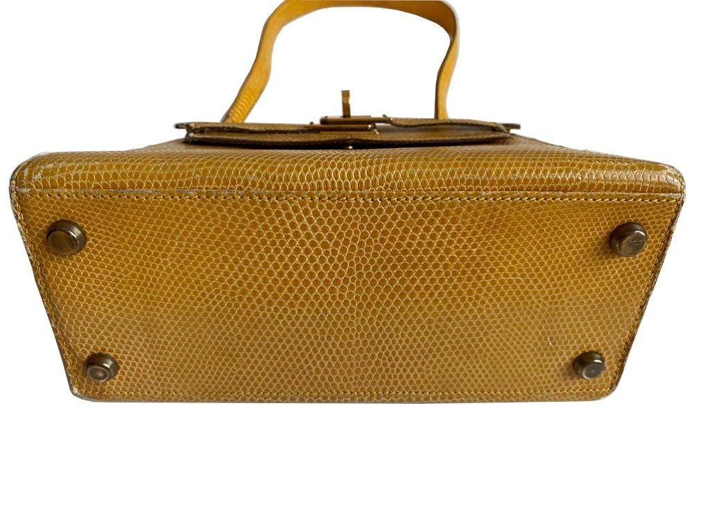 A yellow Hermes Kelly in Lizard with gold hardware, including strap. W.20cm x H.14cm x D.9cm, - Image 7 of 11