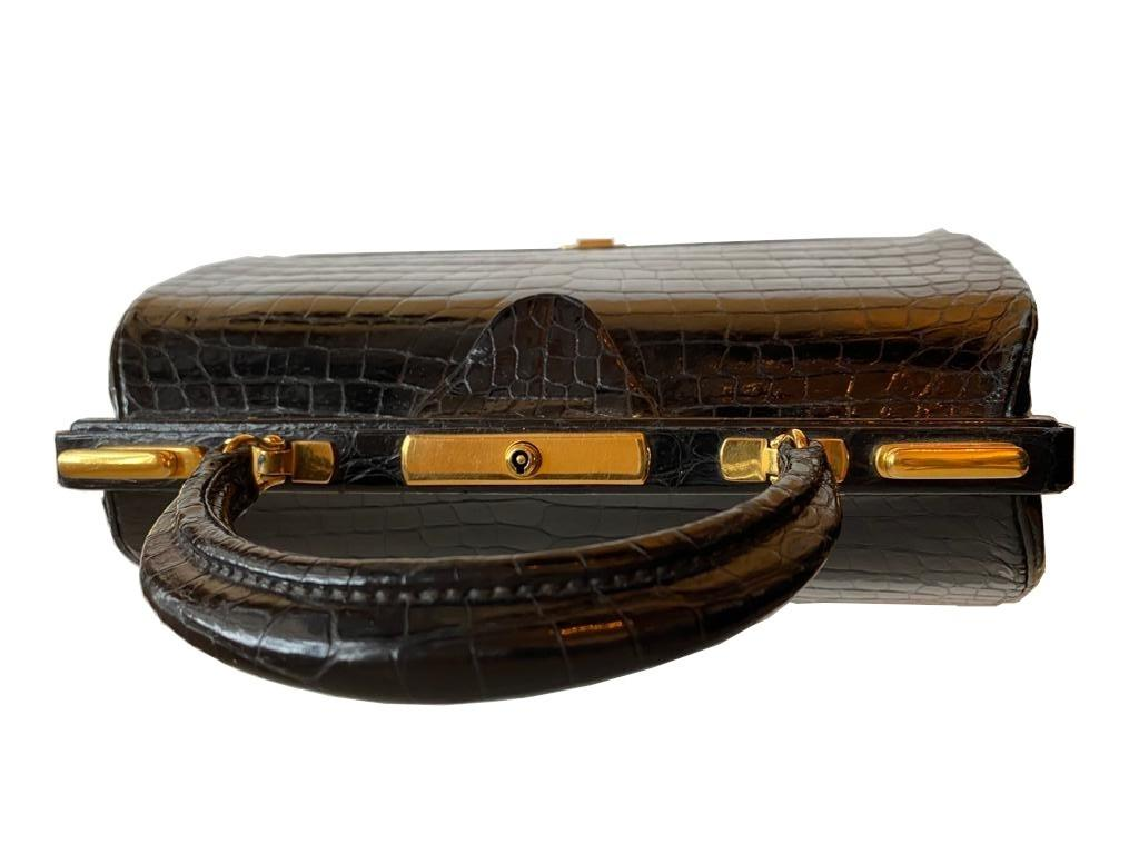 A Hermes Mallet bag in black shiny crocodile with gold hardware, includes Brown Dustbag, Keys & - Image 9 of 9