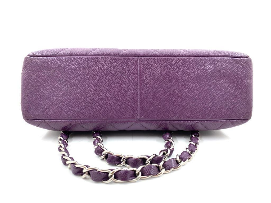 A Chanel Classic Flap Bag Jumbo in Purple Caviar with Silver Hardware, is instantly recognizable - Image 2 of 6