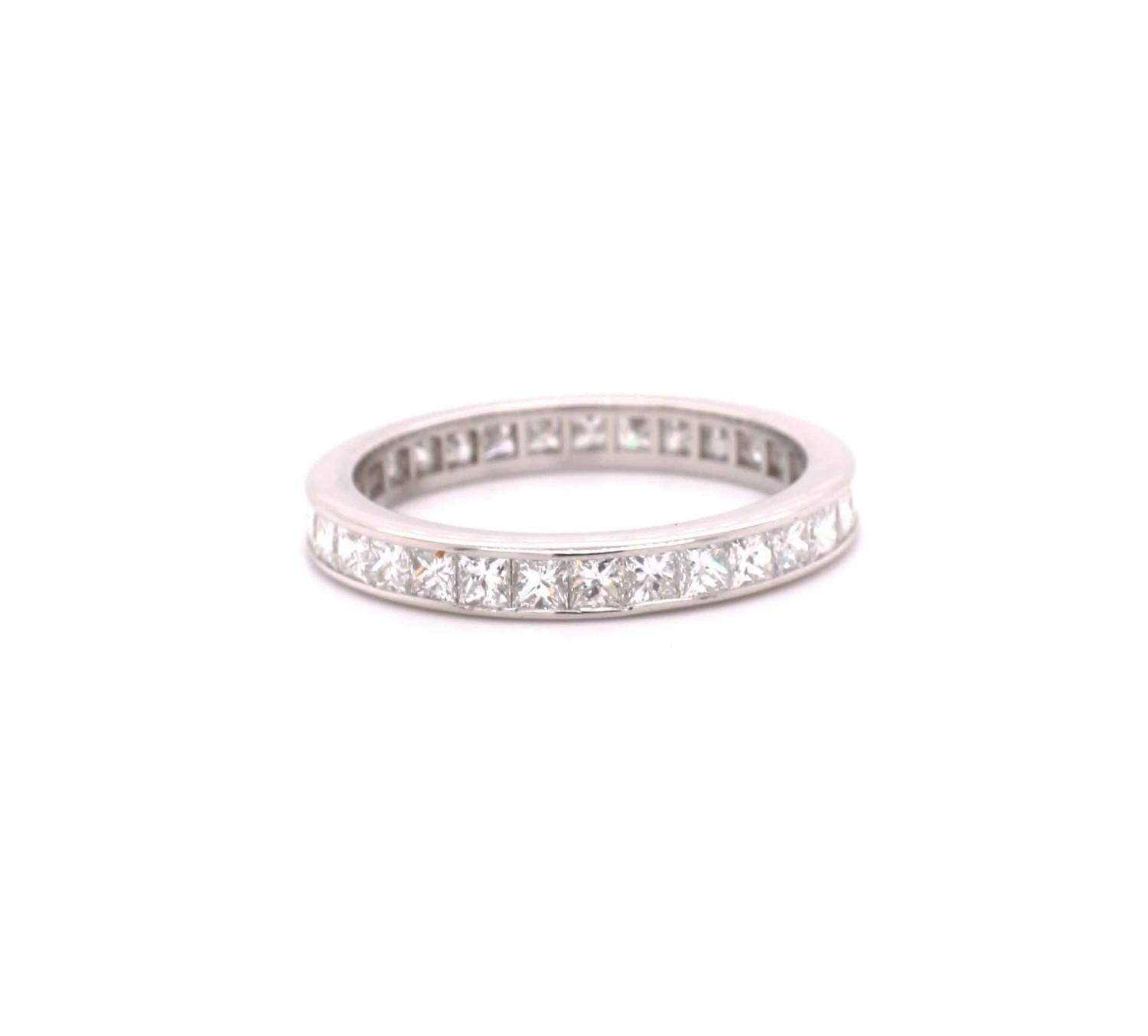 A Princess cut diamond eternity ring mounted in platinum by Tiffany & Co. Contemporary. Signed - Image 2 of 6