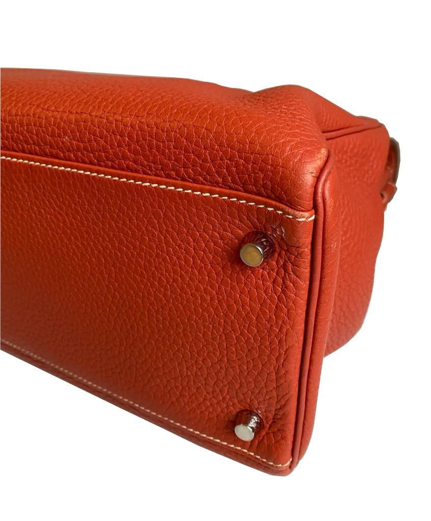 A sanguine Hermes Kelly in clemence leather with palladium hardware, includes Dustbag, Raincover, - Image 8 of 11