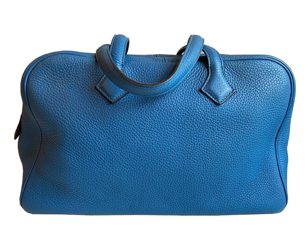 A Hermes Bleu de Galice Victoria II in clemence leather with palladium hardware, includes Dustbag. - Image 2 of 12