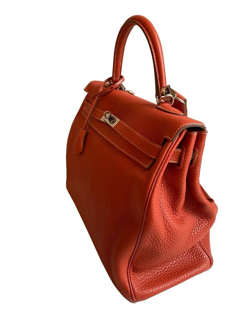 A sanguine Hermes Kelly in clemence leather with palladium hardware, includes Dustbag, Raincover, - Image 3 of 11