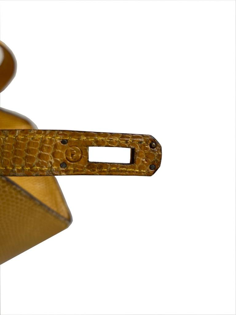 A yellow Hermes Kelly in Lizard with gold hardware, including strap. W.20cm x H.14cm x D.9cm, - Image 10 of 11