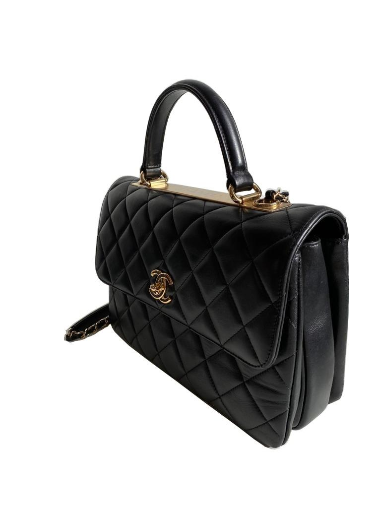 A Chanel Trendy CC in Black quilted leather with Gold Hardware, can be carried either in the hand - Image 5 of 9