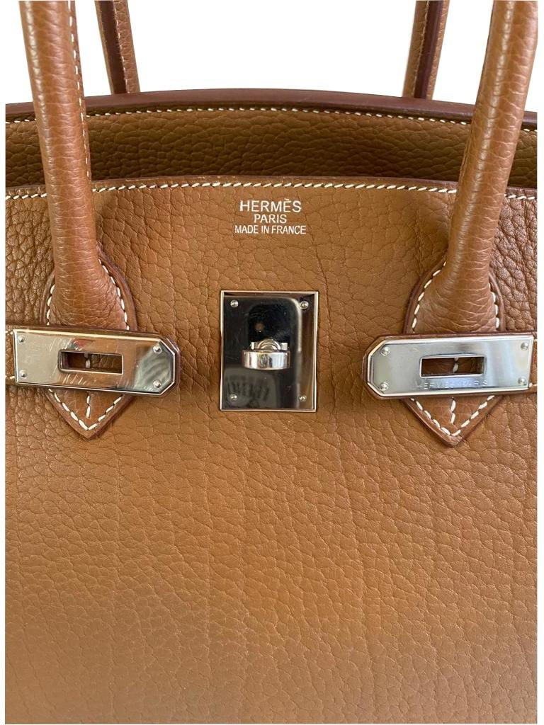 A gold Hermes Birkin in fjord leather with palladium hardware, with key, lock and spa receipt, W. - Image 5 of 9