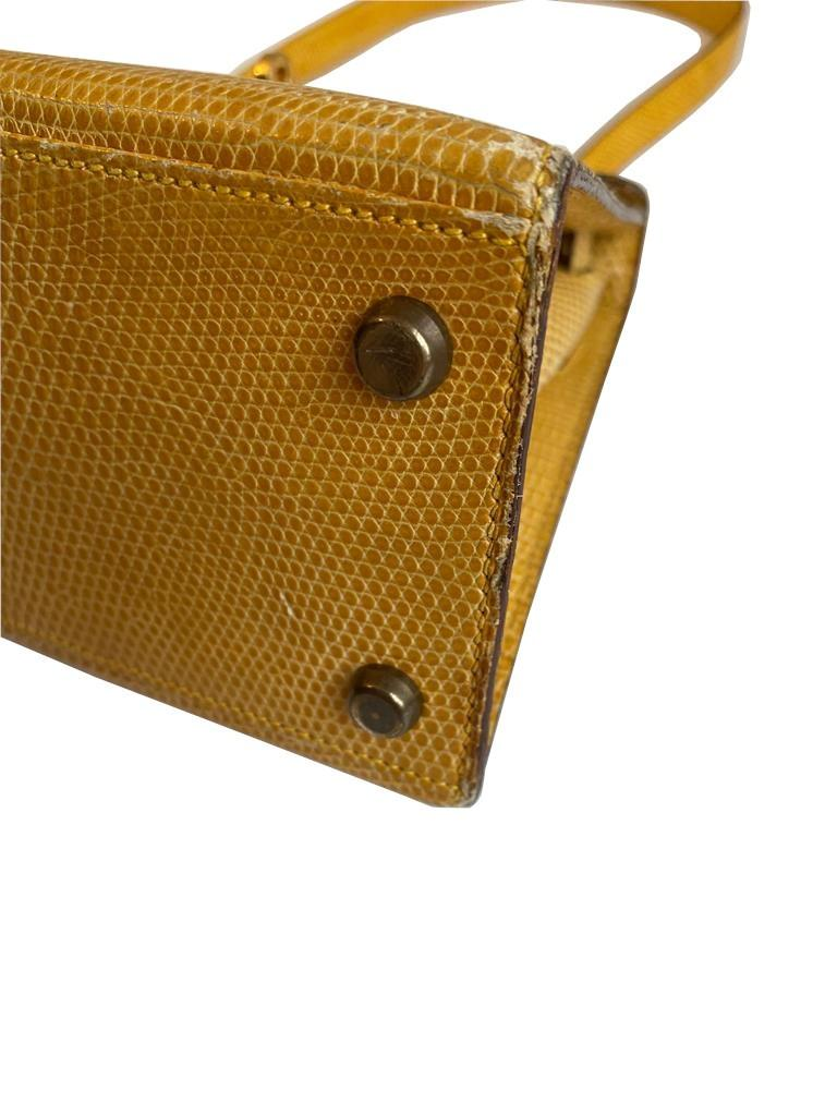 A yellow Hermes Kelly in Lizard with gold hardware, including strap. W.20cm x H.14cm x D.9cm, - Image 9 of 11