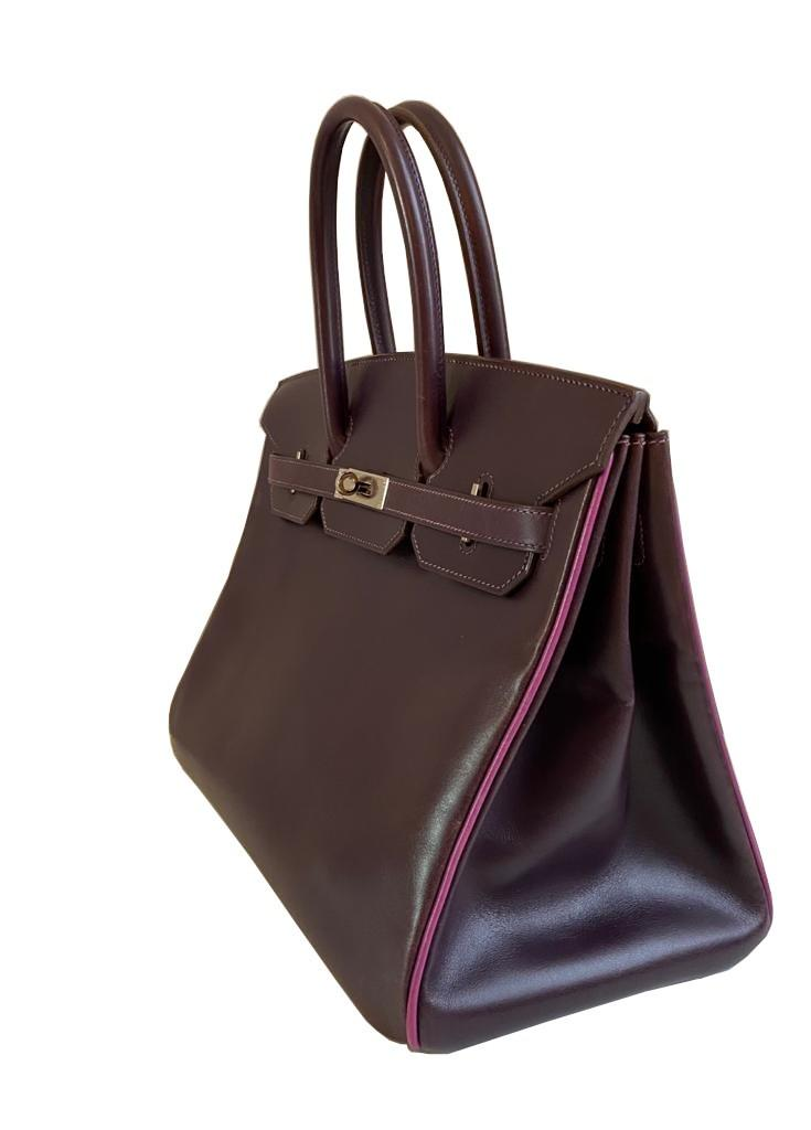 A Raisin & Cyclamen Hermes Birkin in box leather with palladium hardware with dustbag, key, lock and - Image 4 of 10