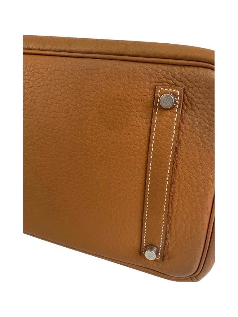 A gold Hermes Birkin in fjord leather with palladium hardware, with key, lock and spa receipt, W. - Image 8 of 9