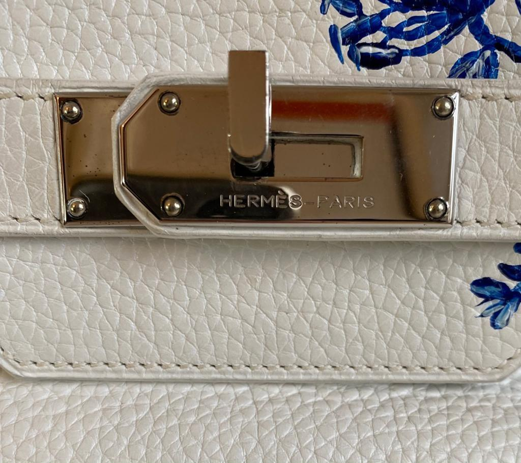 A white Jean Paul Gaultier (JPG) Hermes Birkin in clemence with palladium hardware, including - Image 8 of 15