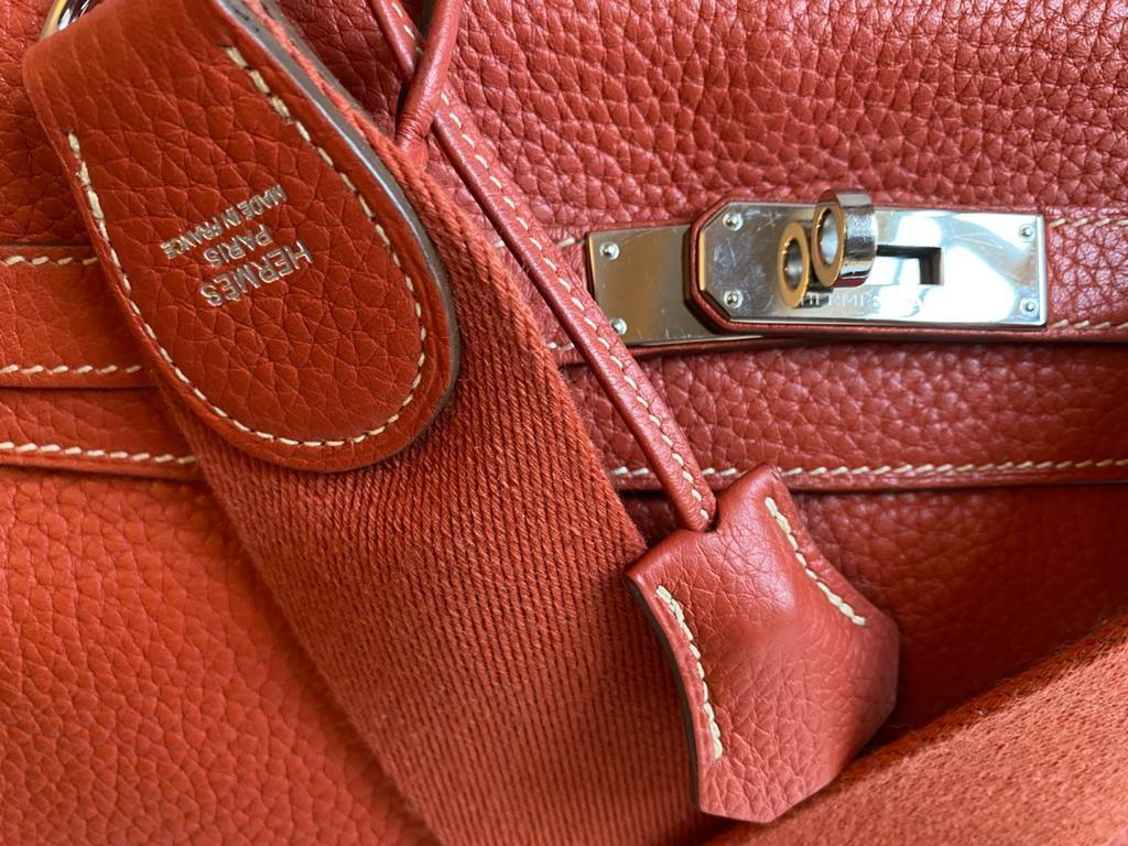 A sanguine Hermes Kelly in clemence leather with palladium hardware, includes Dustbag, Raincover, - Image 11 of 11