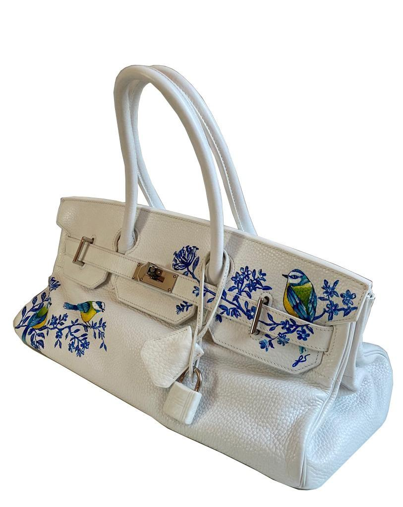 A white Jean Paul Gaultier (JPG) Hermes Birkin in clemence with palladium hardware, including - Image 3 of 15