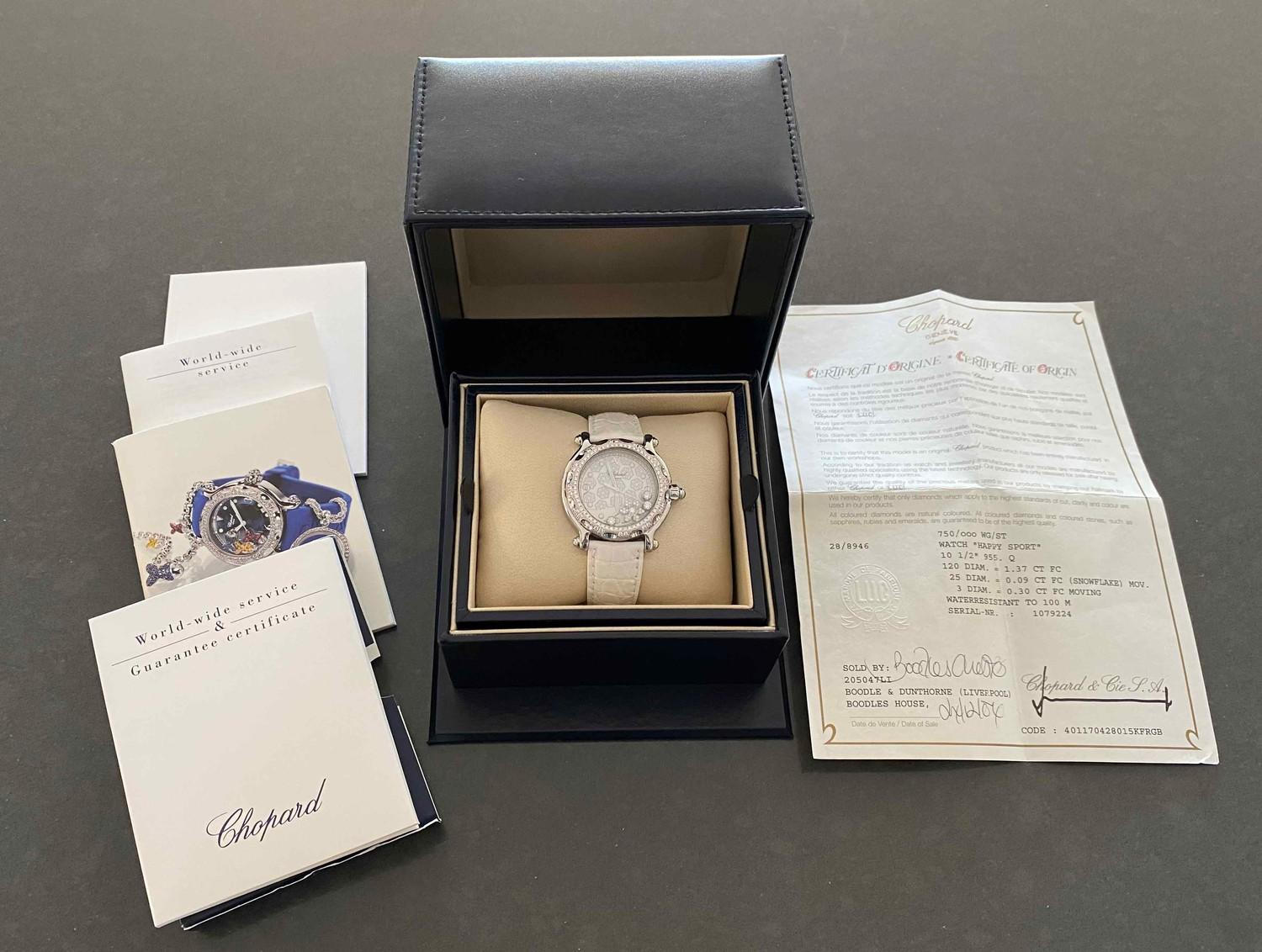 A Chopard Happy Sport Limited edition Diamond Snowflake ladies wristwatch 28/8946 mounted in 18ct