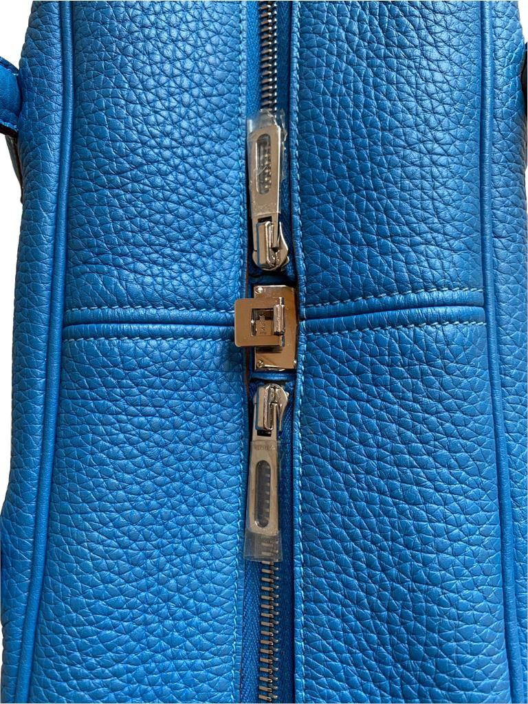 A Hermes Bleu de Galice Victoria II in clemence leather with palladium hardware, includes Dustbag. - Image 11 of 12