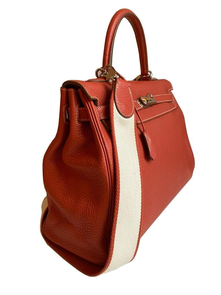 A sanguine Hermes Kelly in clemence leather with palladium hardware, includes Dustbag, Raincover, - Image 2 of 11