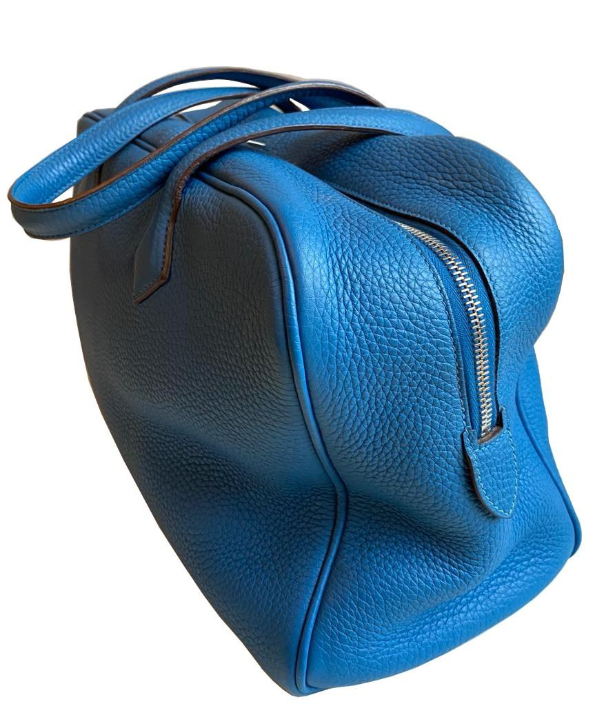 A Hermes Bleu de Galice Victoria II in clemence leather with palladium hardware, includes Dustbag. - Image 3 of 12