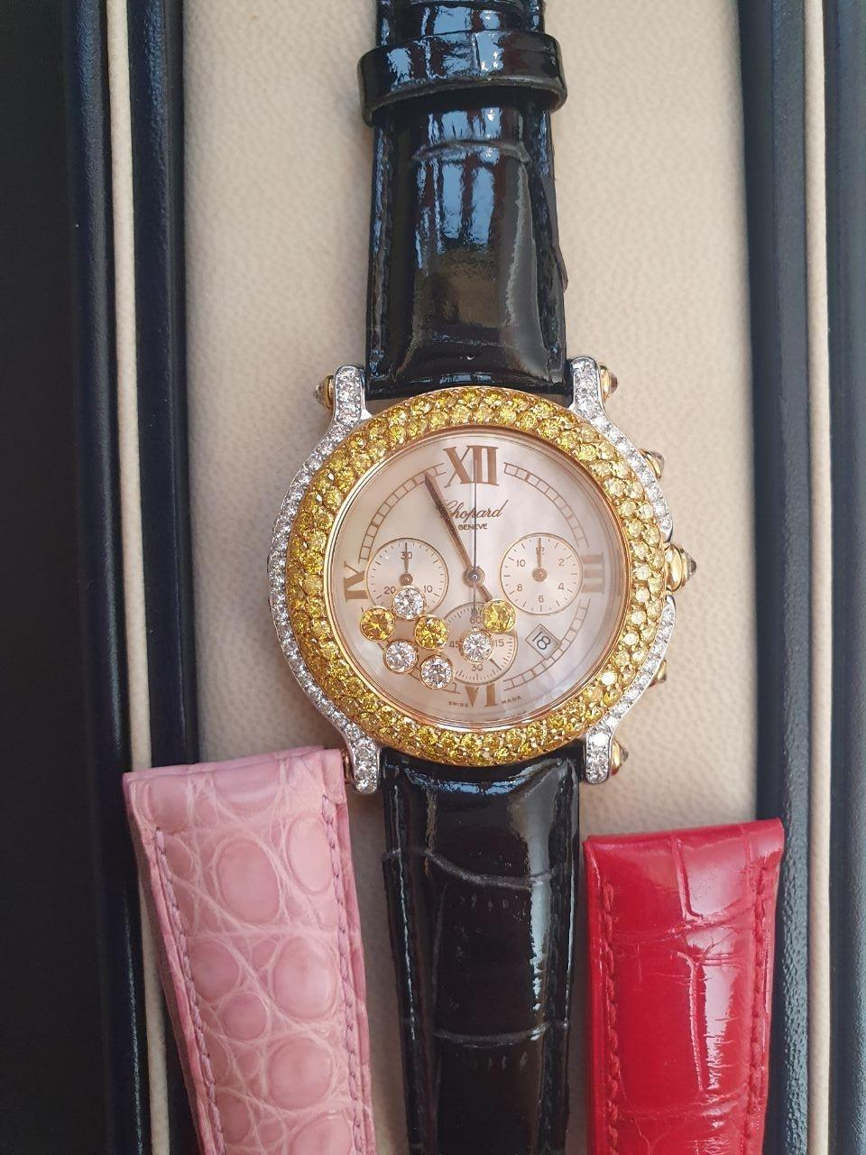 A Chopard Happy Sport Chronograph with Roman numeral dial , 1.3ct of seven inset yellow and white - Image 3 of 8