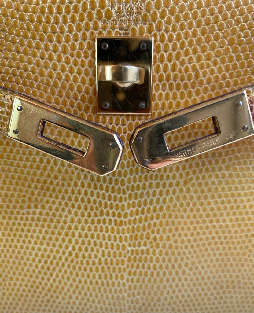 A yellow Hermes Kelly in Lizard with gold hardware, including strap. W.20cm x H.14cm x D.9cm, - Image 11 of 11