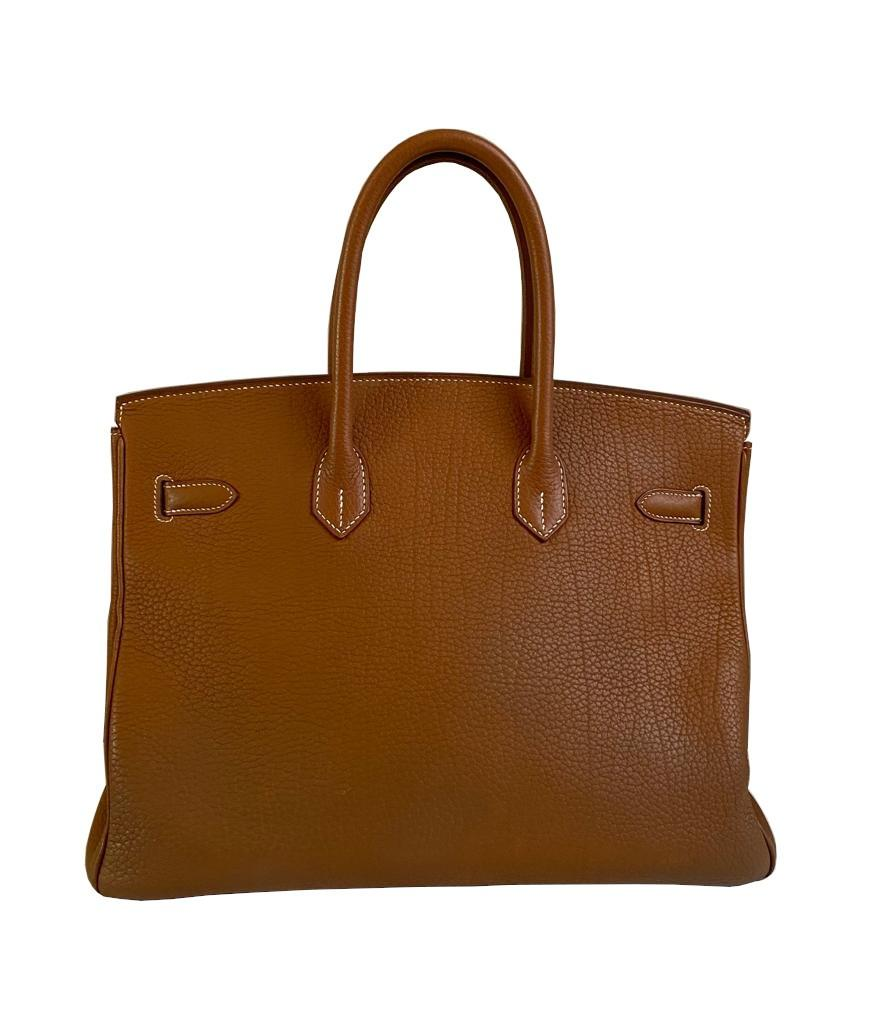 A gold Hermes Birkin in fjord leather with palladium hardware, with key, lock and spa receipt, W. - Image 2 of 9