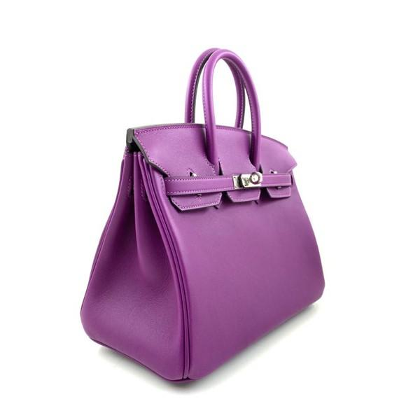 A Hermes 25cm Anemone Birkin in swift leather with palladium hardware. Includes all accessories - Image 3 of 4