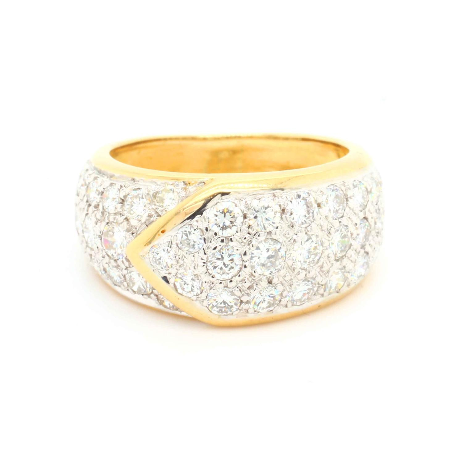 A Graff diamond Ribbon Ring, Contemporary pave set diamond buckle ring mounted in 18ct gold and - Image 2 of 4